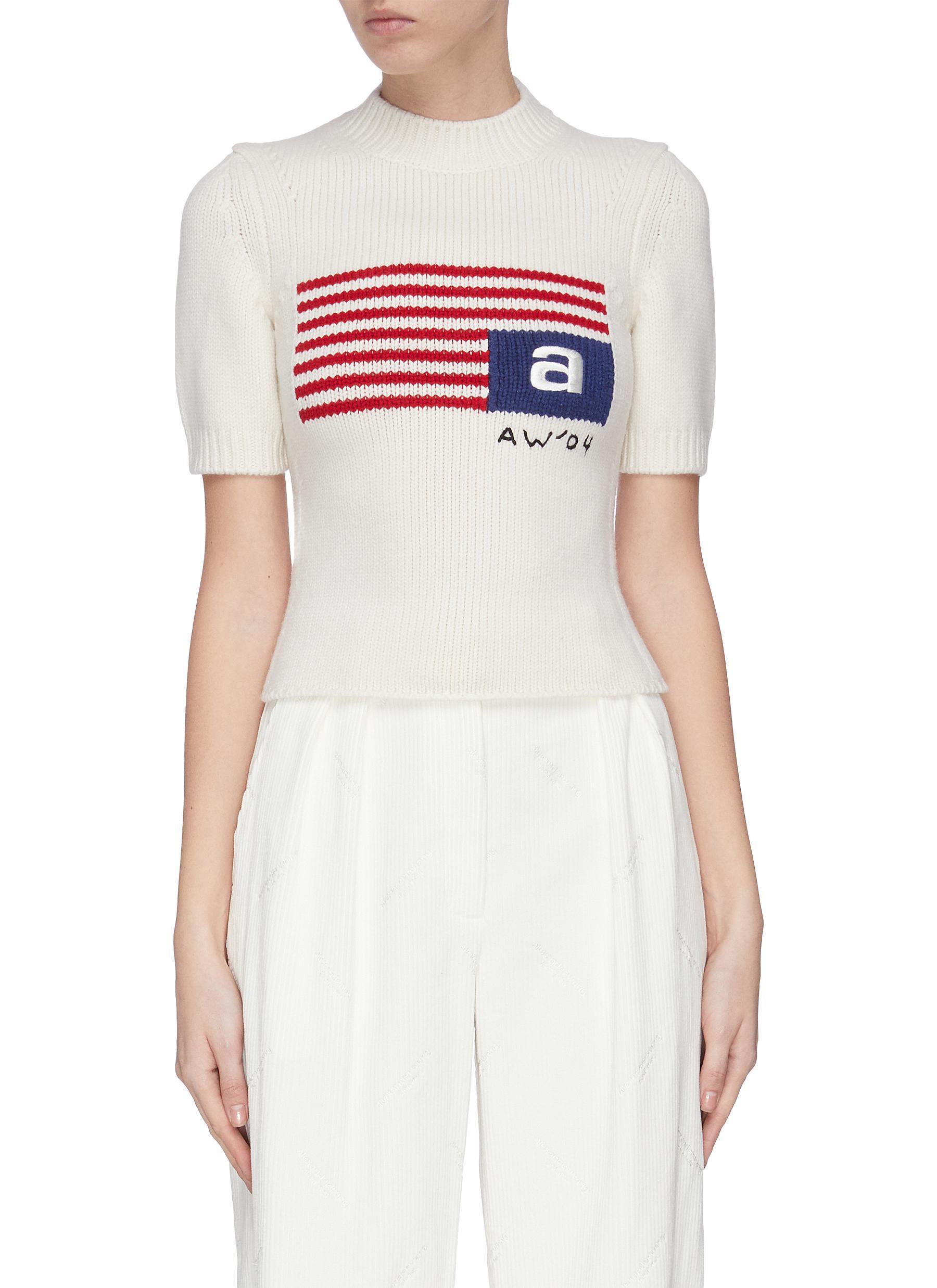shop Alexander Wang Logo flag intarsia rib knit top online