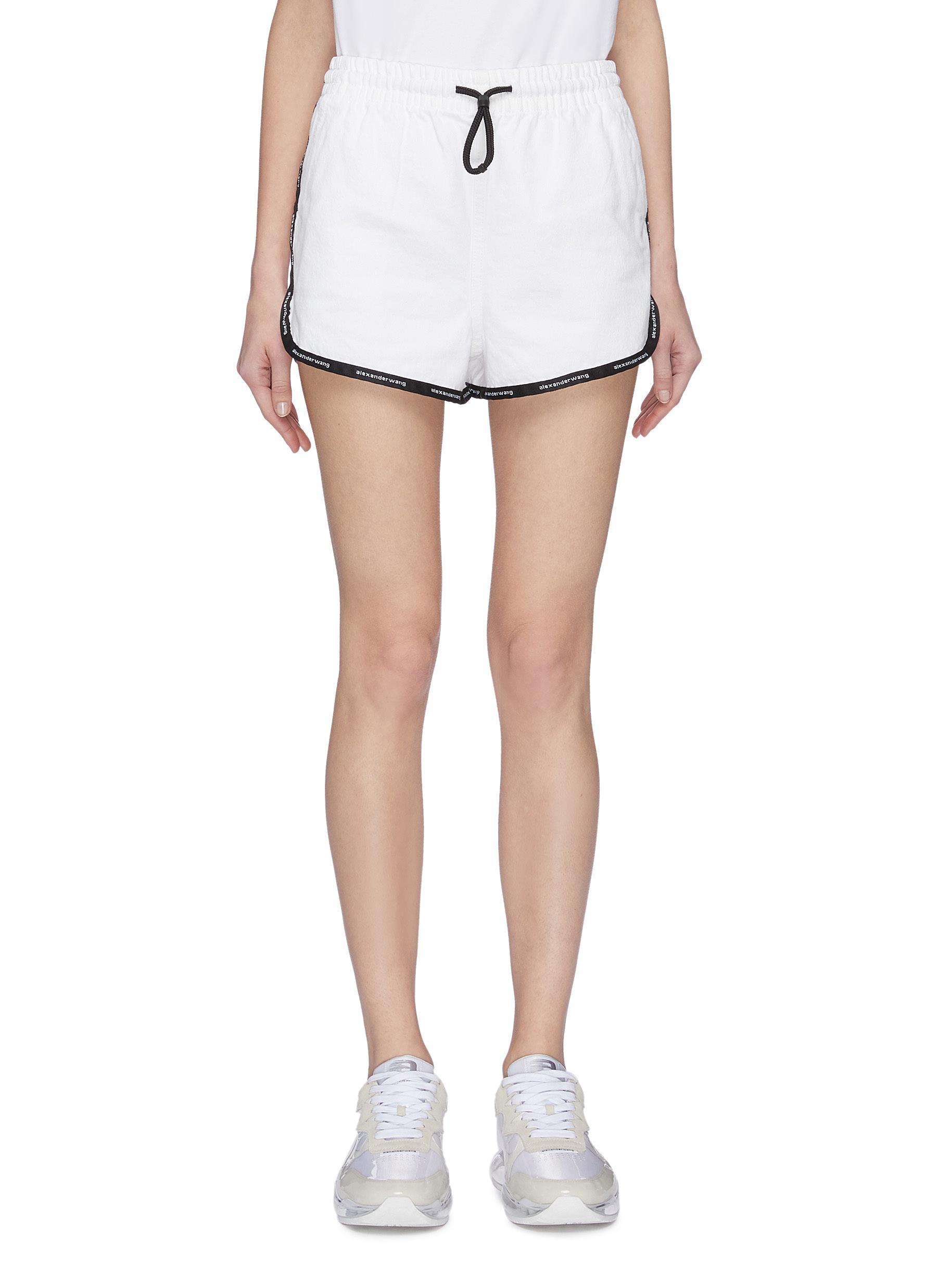 Buy Alexander Wang Jeans Logo tape outseam shorts