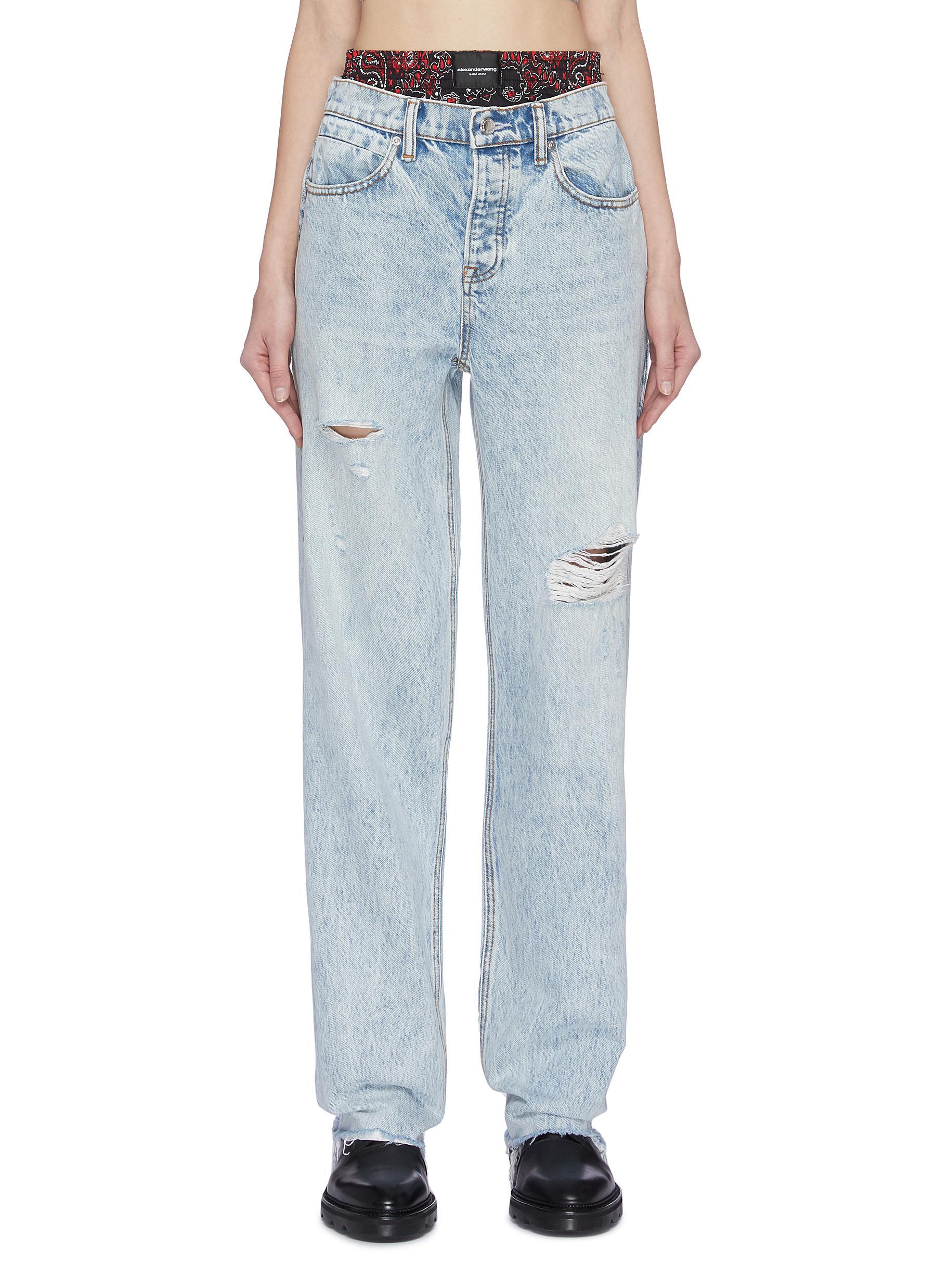 Buy Alexander Wang Jeans 'Rival' bandana print underlayer distressed jeans