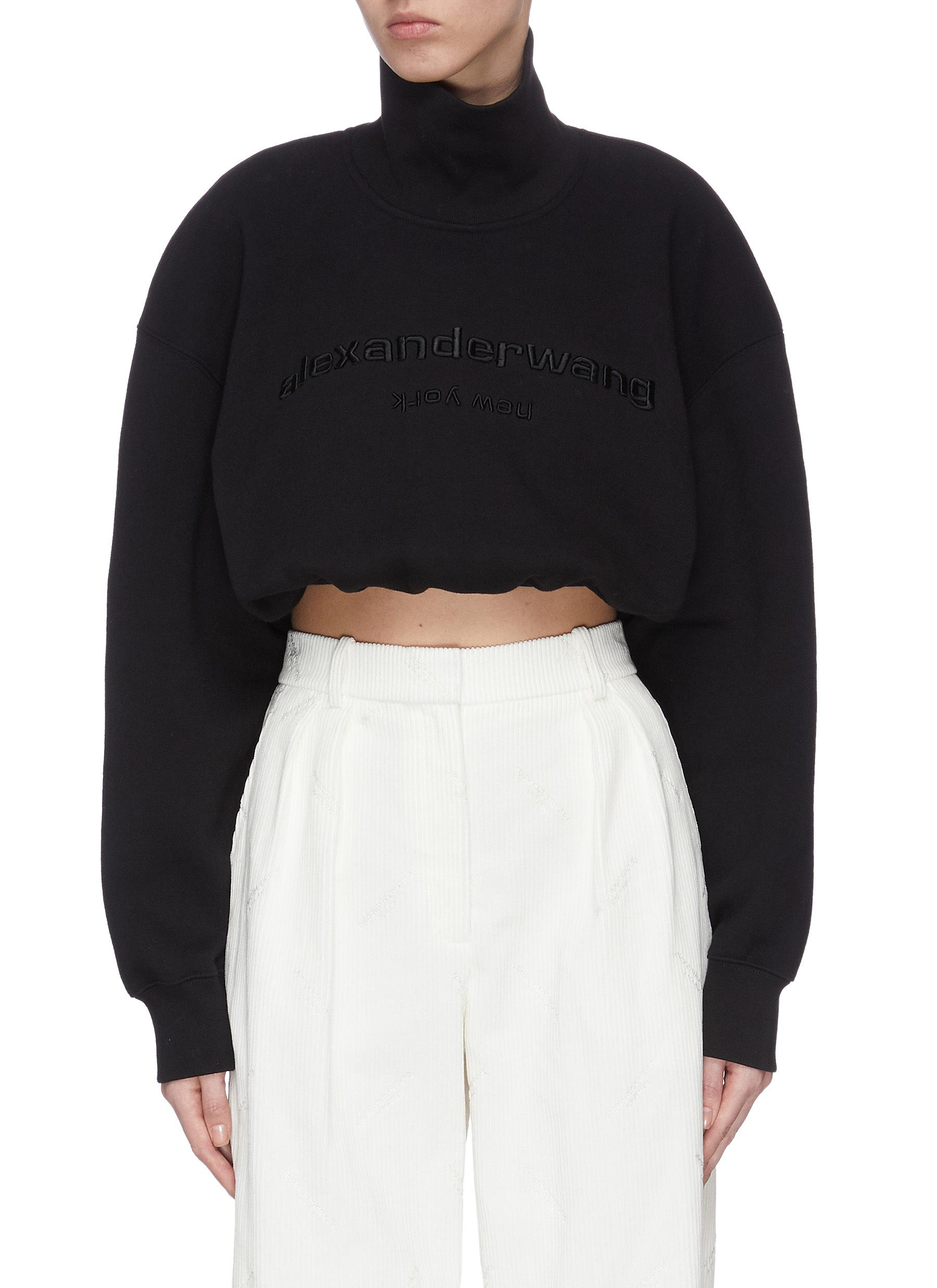 shop Alexander Wang Logo embroidered mock neck crop sweatshirt online