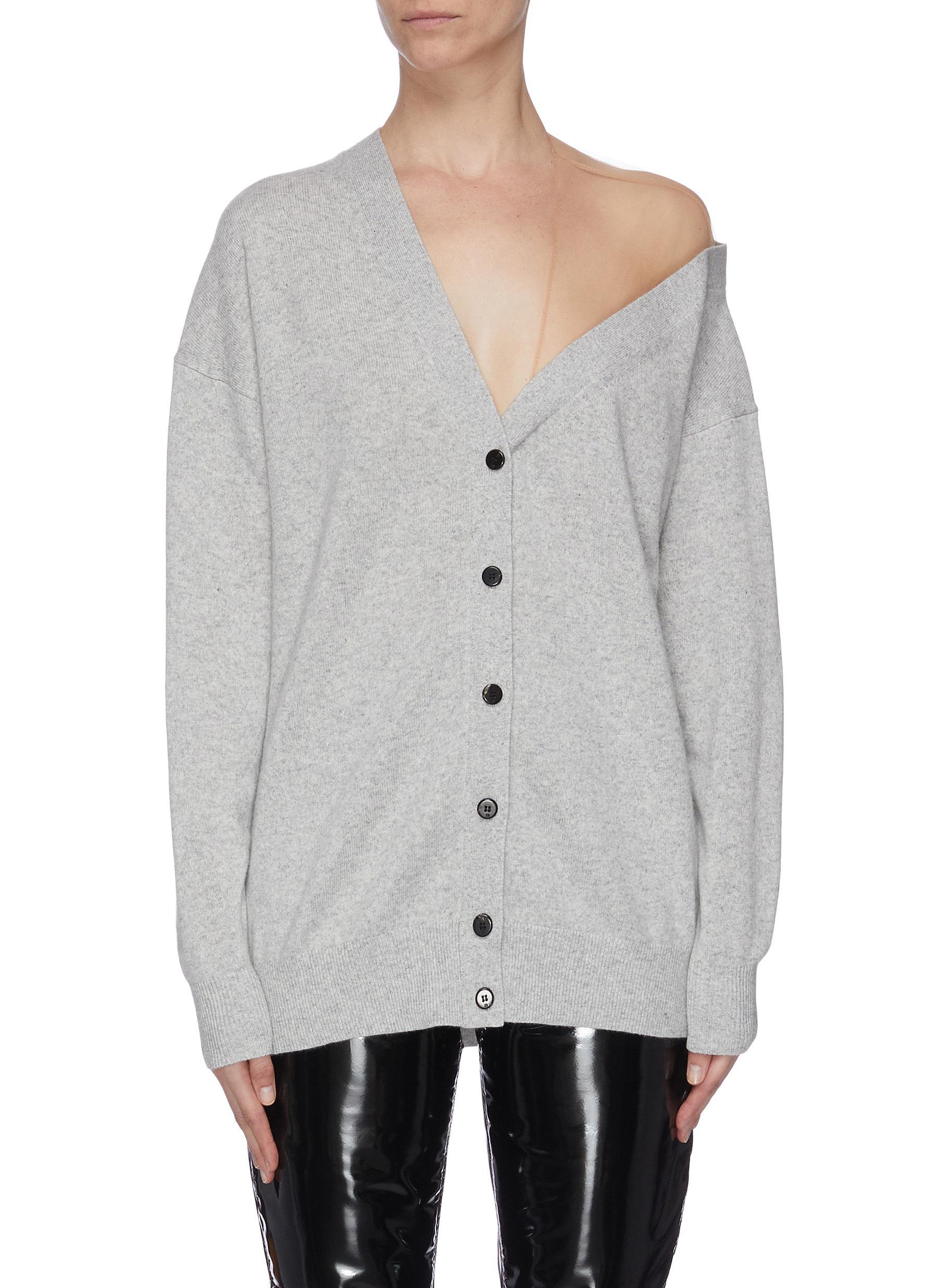 shop Alexander Wang Off-shoulder sheer panel asymmetrical cardigan online