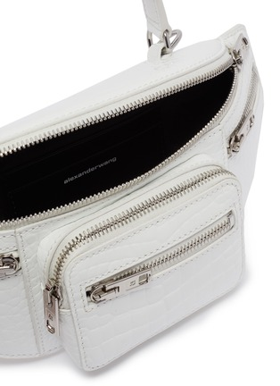 Detail View - Click To Enlarge - ALEXANDER WANG - 'Attica' top handle croc-embossed leather mini belt bag