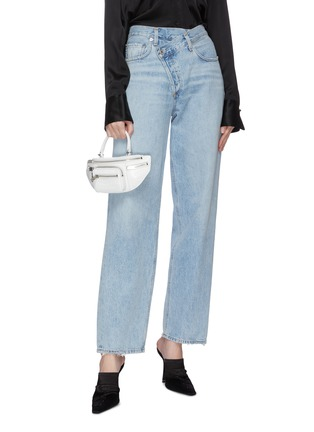 Front View - Click To Enlarge - ALEXANDER WANG - 'Attica' top handle croc-embossed leather mini belt bag