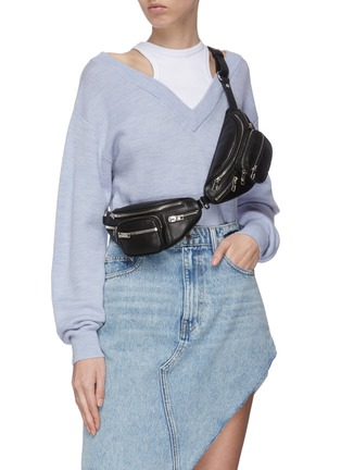 Figure View - Click To Enlarge - ALEXANDER WANG - 'Attica' double leather mini belt bag