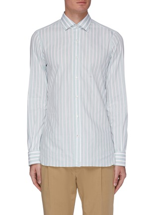 Main View - Click To Enlarge - ISAIA - 'Parma' double stripe button-up shirt