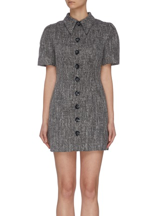 """Main View - Click To Enlarge - C/MEO COLLECTIVE - """"Prophecy' puff sleeve tailored shirt collar dress"""