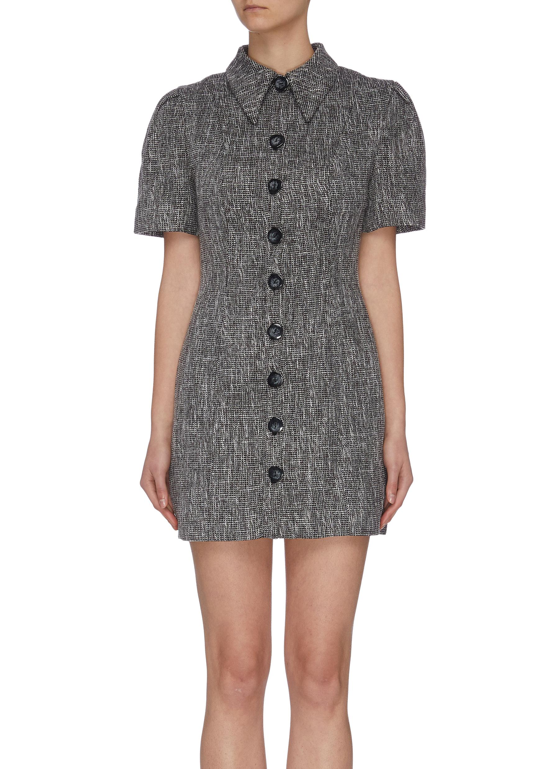 "shop C/Meo Collective ""Prophecy' puff sleeve tailored shirt collar dress online"