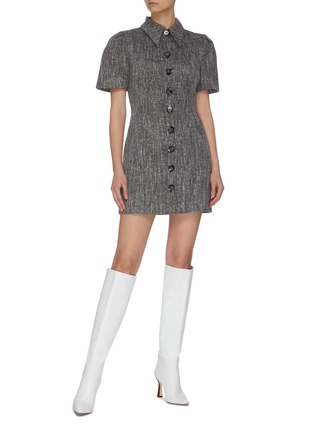 """Figure View - Click To Enlarge - C/MEO COLLECTIVE - """"Prophecy' puff sleeve tailored shirt collar dress"""