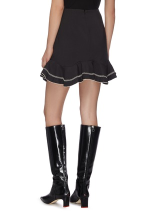 """Back View - Click To Enlarge - C/MEO COLLECTIVE - """"Affinity' ruffle contrast topstitch mini skirt"""