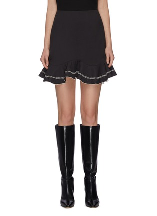 """Main View - Click To Enlarge - C/MEO COLLECTIVE - """"Affinity' ruffle contrast topstitch mini skirt"""