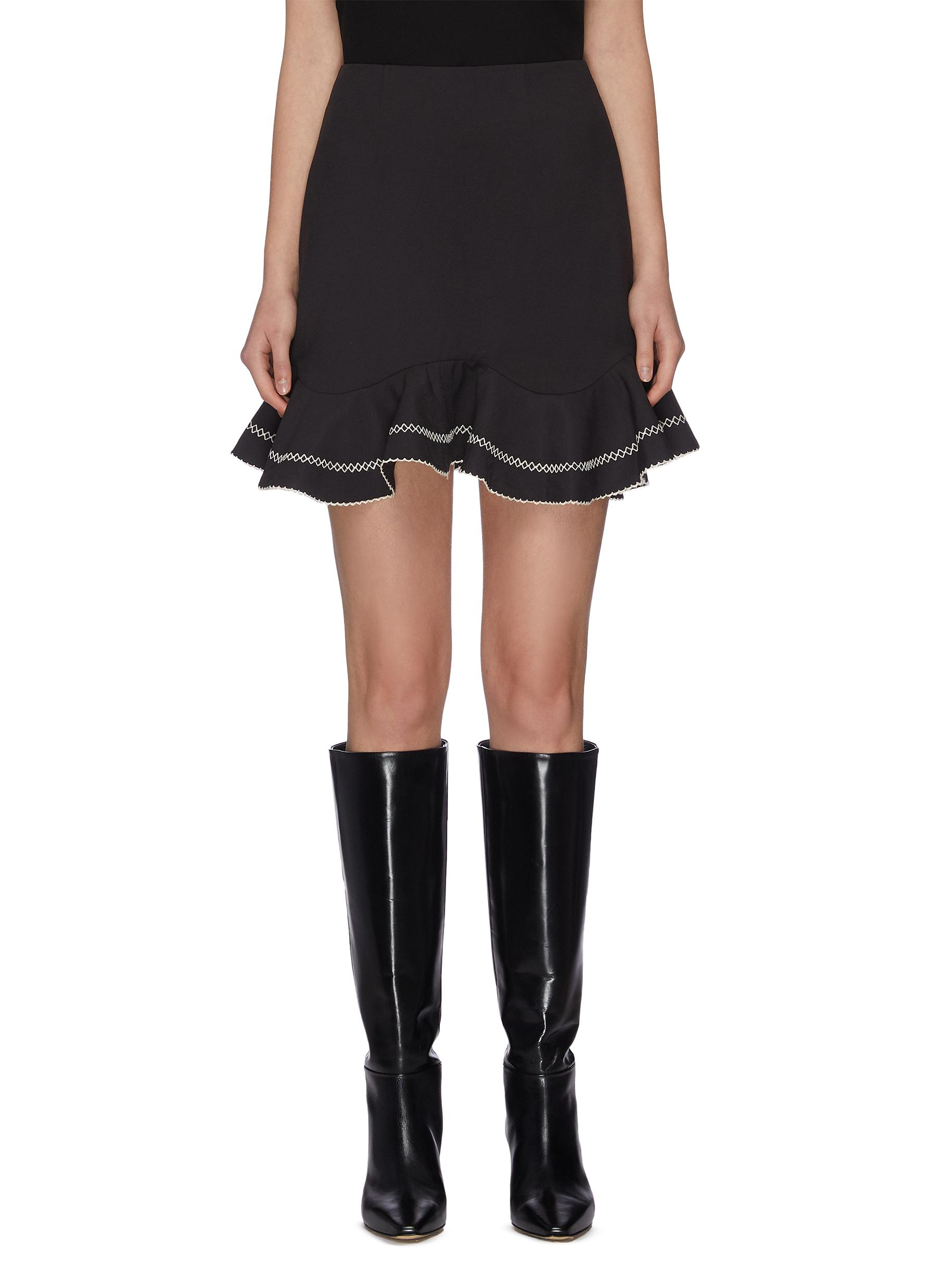 "shop C/Meo Collective ""Affinity' ruffle contrast topstitch mini skirt online"