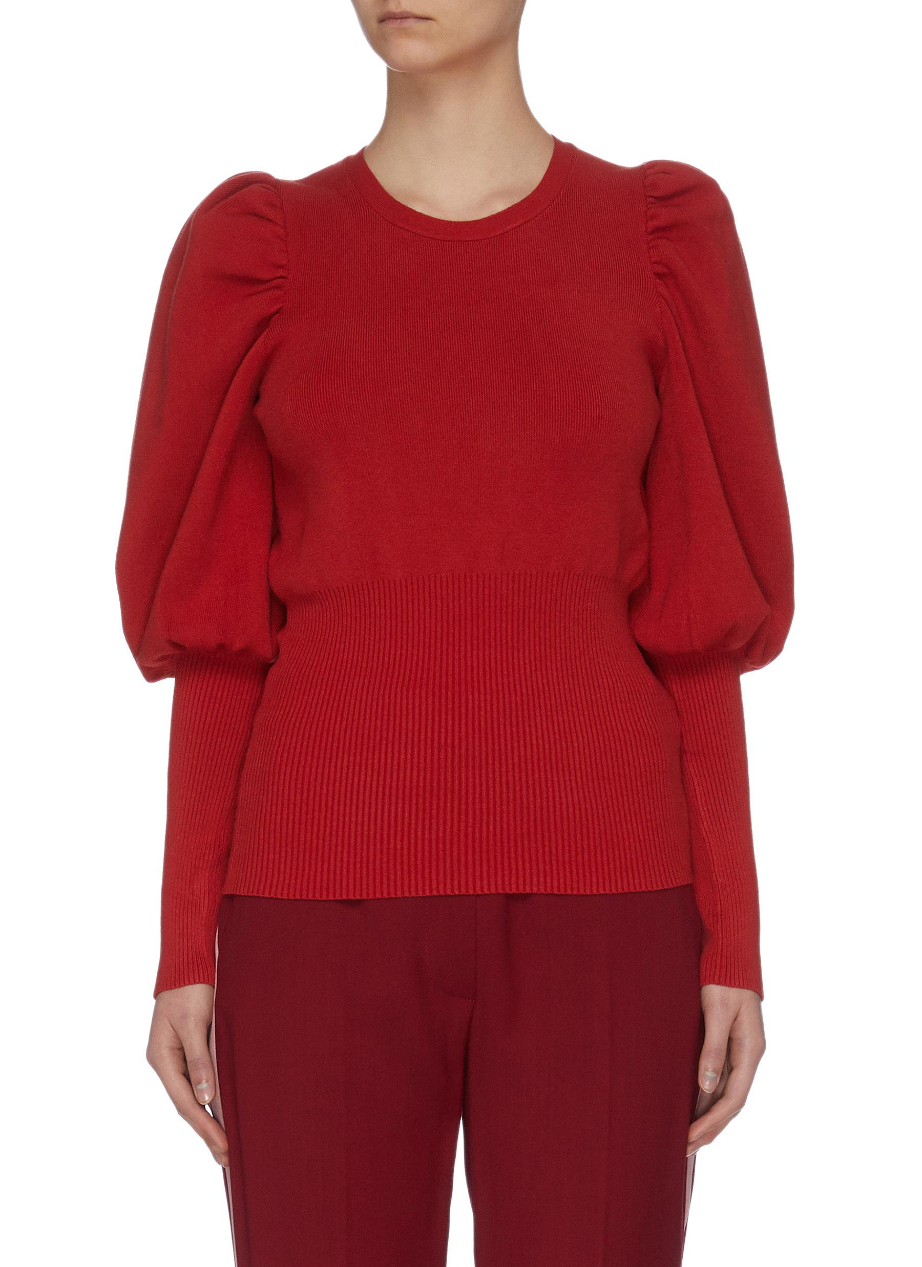 "shop C/Meo Collective ""Action Shot' balloon sleeve rib knit top online"