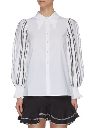 """Main View - Click To Enlarge - C/MEO COLLECTIVE - """"Founder' puff sleeve contrast topstitch shirt"""