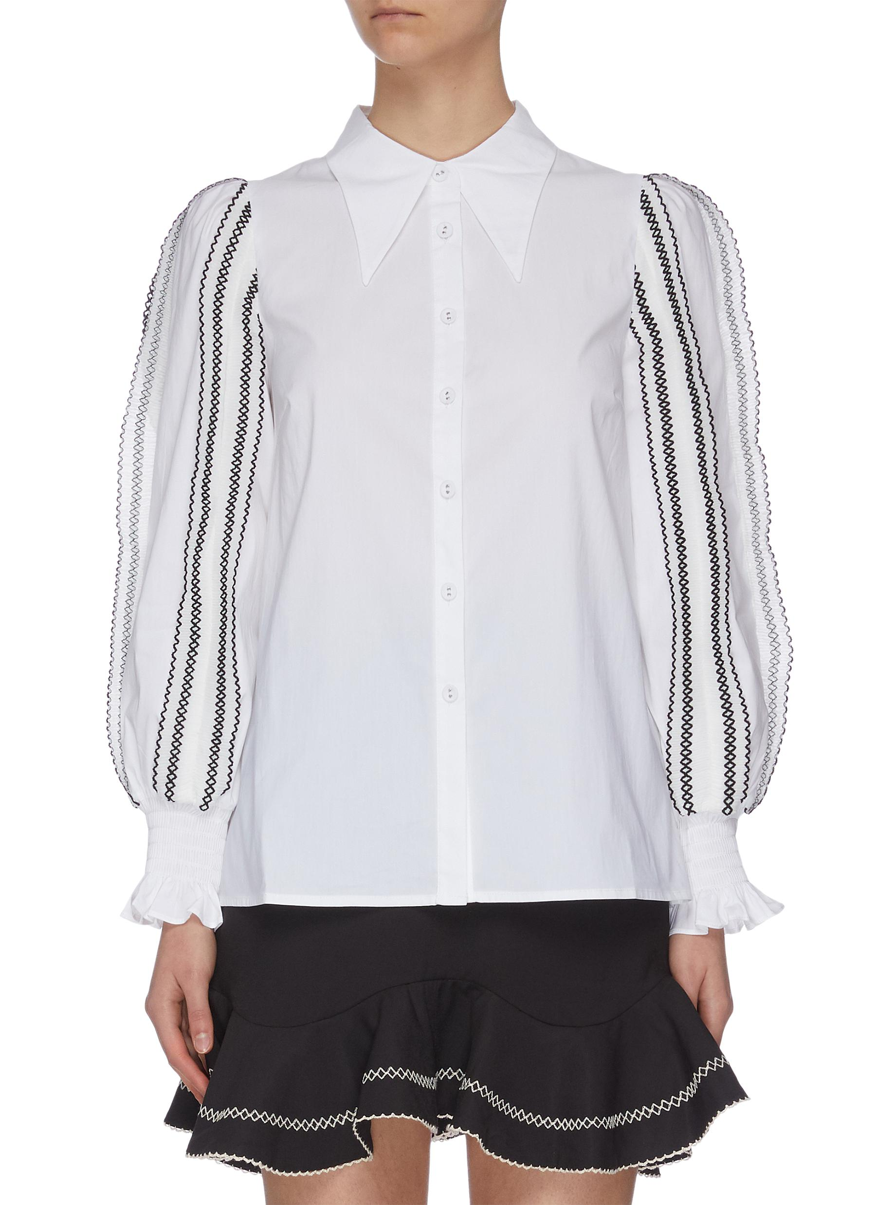 "shop C/Meo Collective ""Founder' puff sleeve contrast topstitch shirt online"