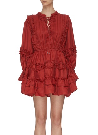 """Main View - Click To Enlarge - C/MEO COLLECTIVE - """"Slow Down' balloon sleeve ruffle dress"""