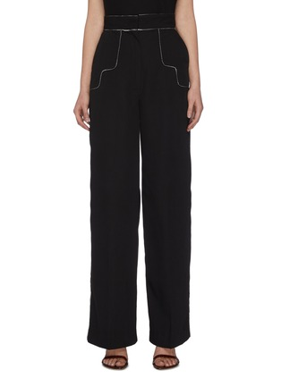 "Main View - Click To Enlarge - C/MEO COLLECTIVE - ""Origin' piping detail wide tailoring pants"