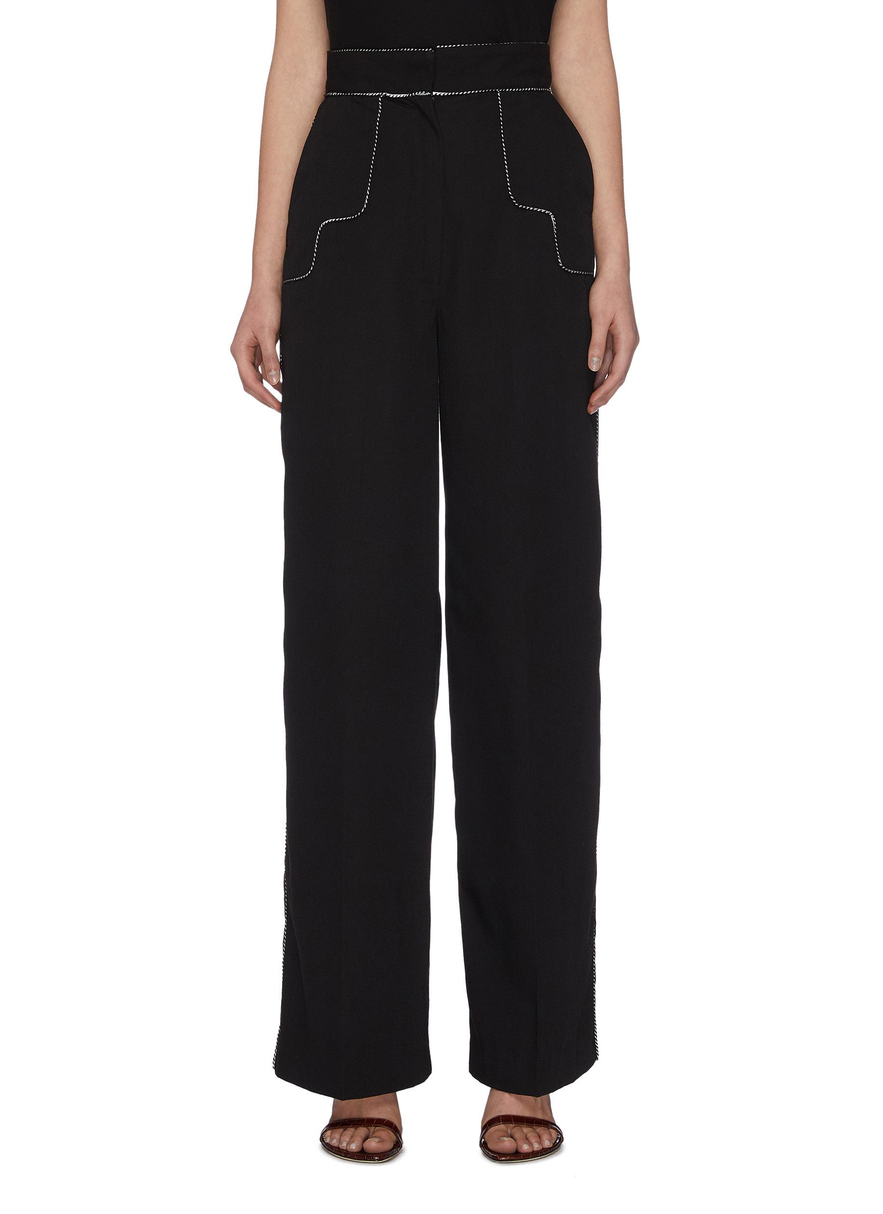 "shop C/Meo Collective ""Origin' piping detail wide tailoring pants online"