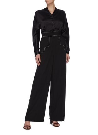 "Figure View - Click To Enlarge - C/MEO COLLECTIVE - ""Origin' piping detail wide tailoring pants"
