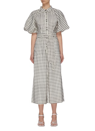"Main View - Click To Enlarge - C/MEO COLLECTIVE - ""Inhale' gingham check jumpsuit"
