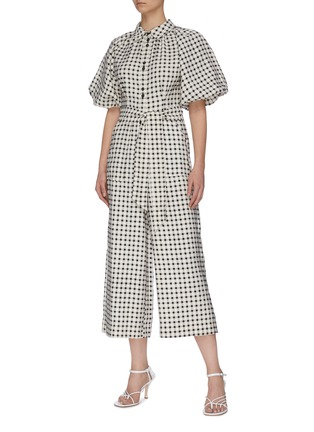 "Figure View - Click To Enlarge - C/MEO COLLECTIVE - ""Inhale' gingham check jumpsuit"