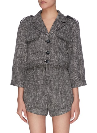 """Main View - Click To Enlarge - C/MEO COLLECTIVE - """"Prophecy' woven button front patch pockets crop jacket"""