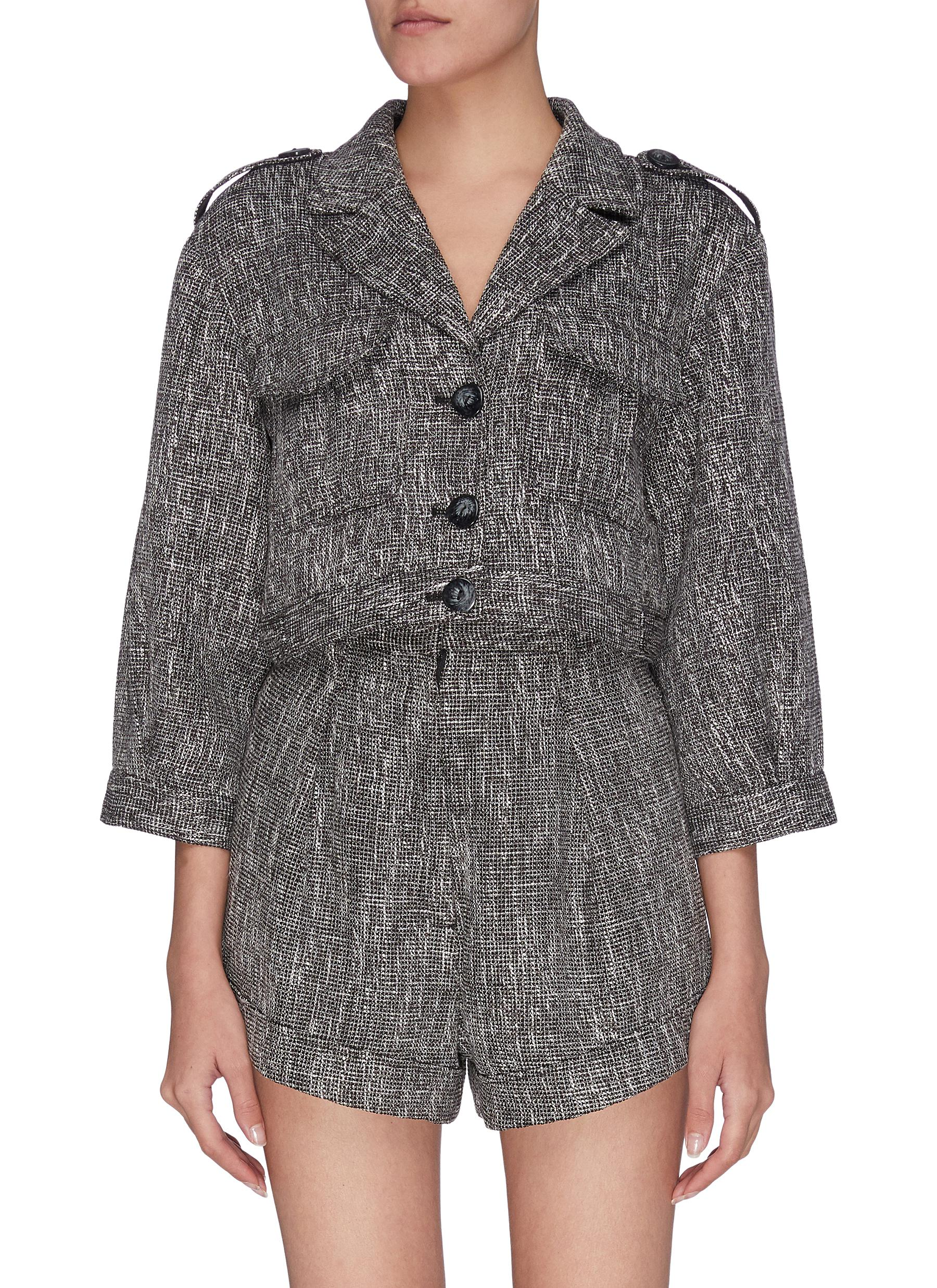 "shop C/Meo Collective ""Prophecy' woven button front patch pockets crop jacket online"