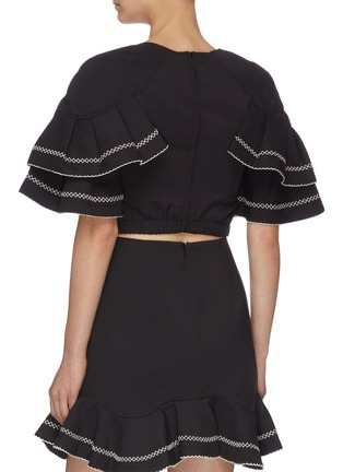 """Back View - Click To Enlarge - C/MEO COLLECTIVE - """"Affinity' square neck ruffle sleeve contrast topstitch crop top"""