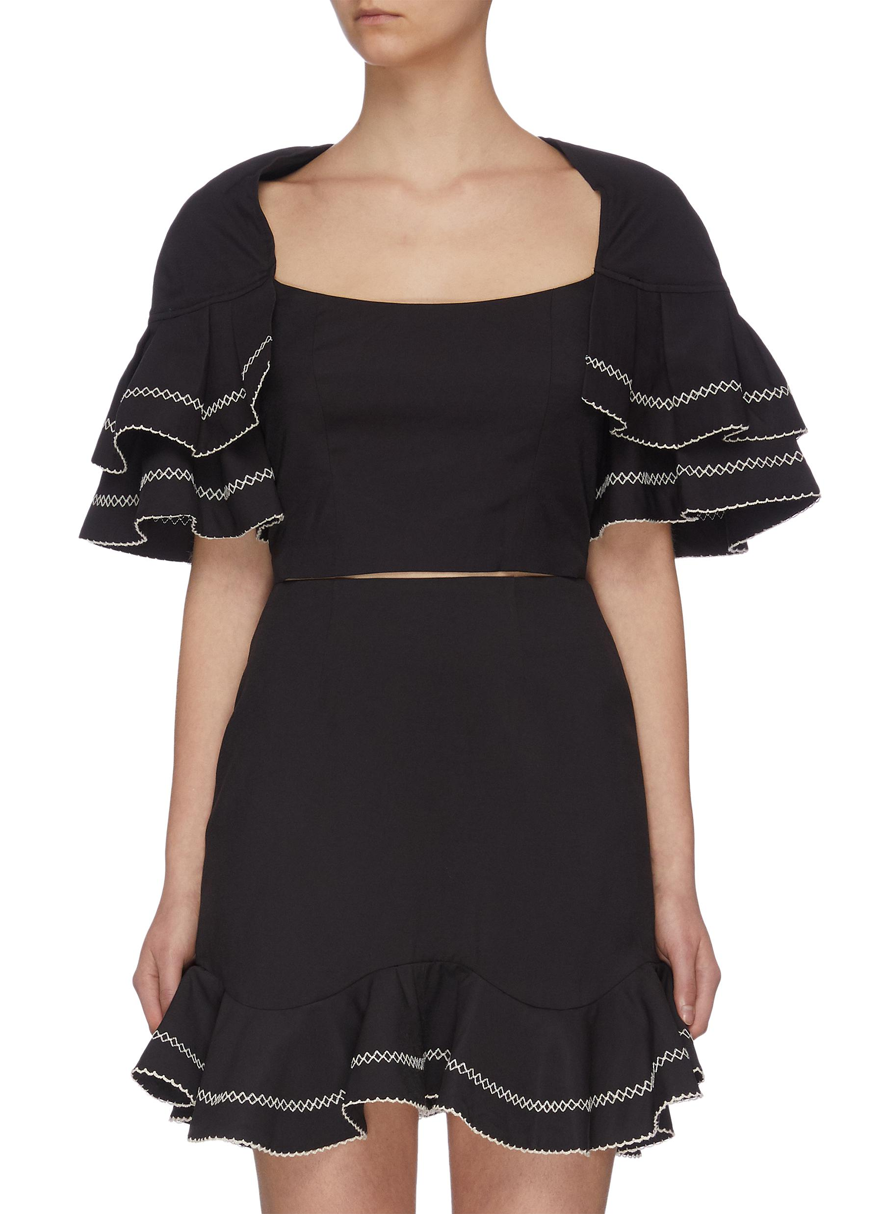 "Buy C/Meo Collective Tops ""Affinity' square neck ruffle sleeve contrast topstitch crop top"
