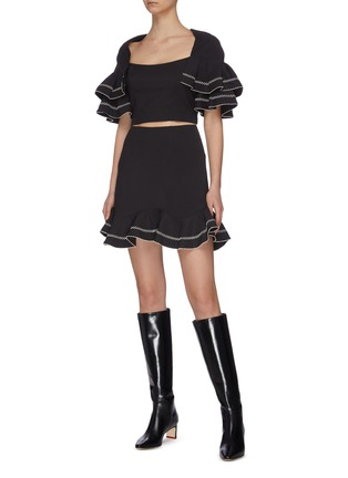 """Figure View - Click To Enlarge - C/MEO COLLECTIVE - """"Affinity' square neck ruffle sleeve contrast topstitch crop top"""