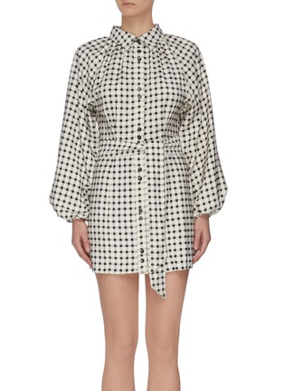 """Main View - Click To Enlarge - C/MEO COLLECTIVE - """"Inhale' gingham check shirt dress"""
