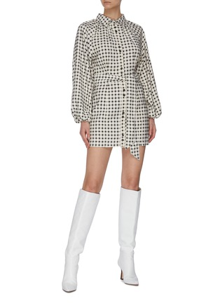 """Figure View - Click To Enlarge - C/MEO COLLECTIVE - """"Inhale' gingham check shirt dress"""