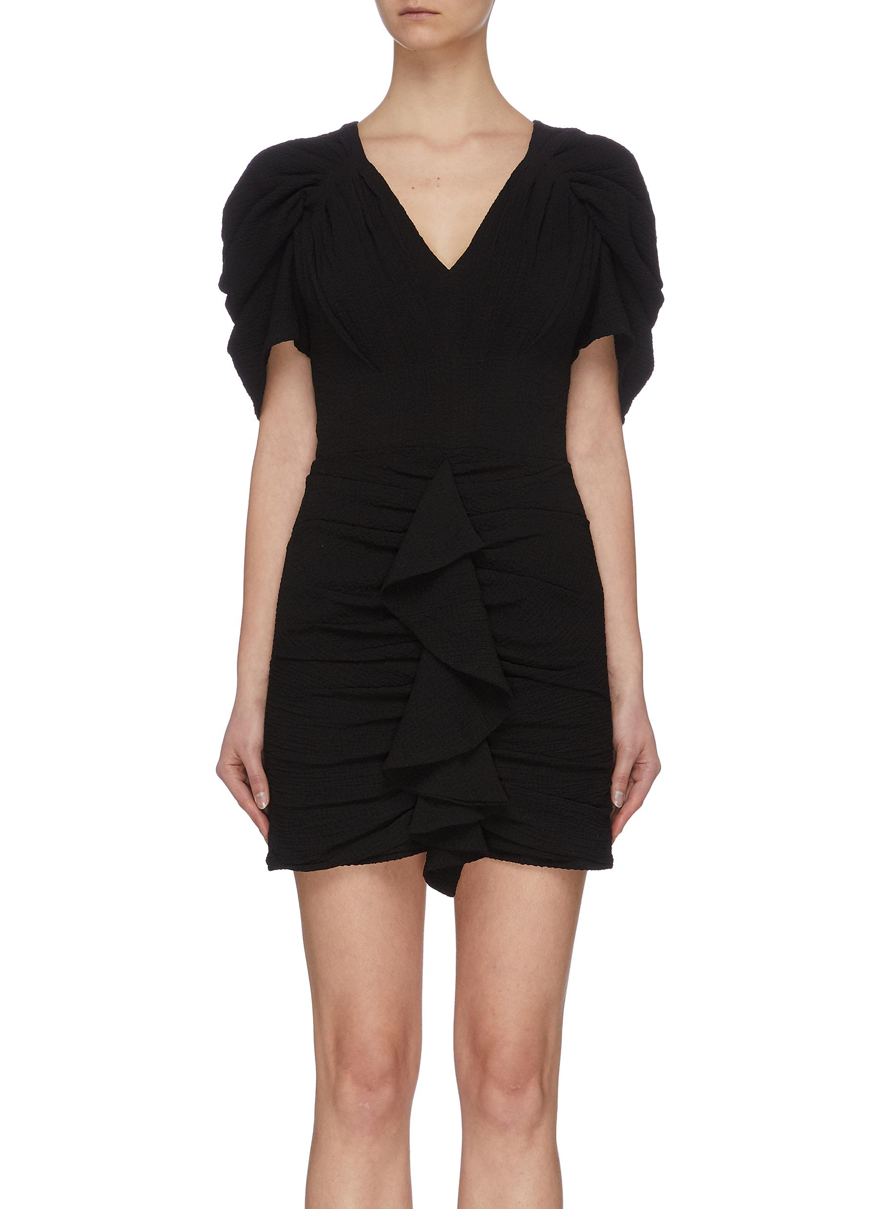 shop C/Meo Collective 'Soaked' drape sleeve ruffle mini dress online