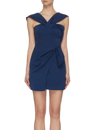 Main View - Click To Enlarge - C/MEO COLLECTIVE - 'Caliber' crossover strap mini asymmetric dress
