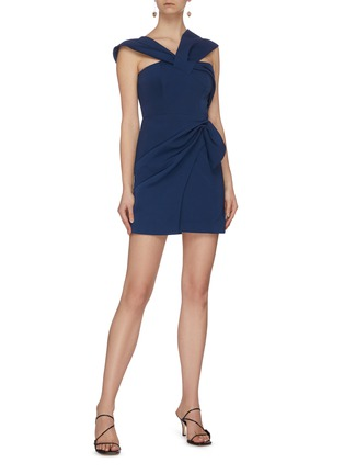 Figure View - Click To Enlarge - C/MEO COLLECTIVE - 'Caliber' crossover strap mini asymmetric dress