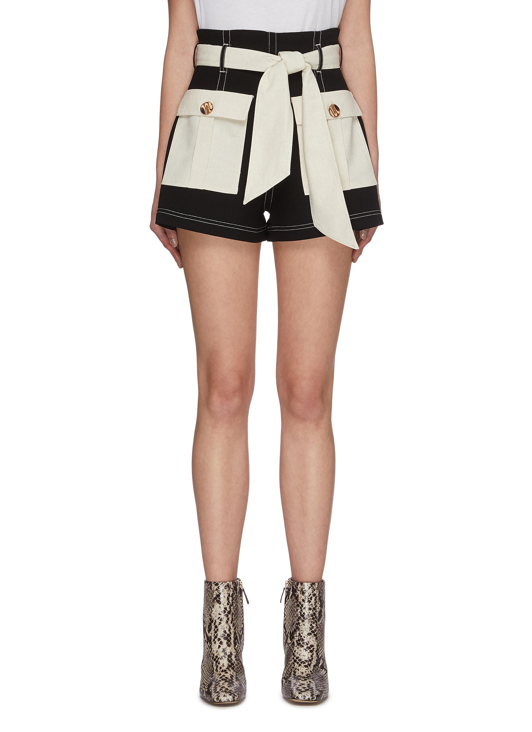 shop C/Meo Collective Colourblock belted paperbag belted shorts online