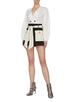 Figure View - Click To Enlarge - C/MEO COLLECTIVE - Colourblock belted paperbag belted shorts