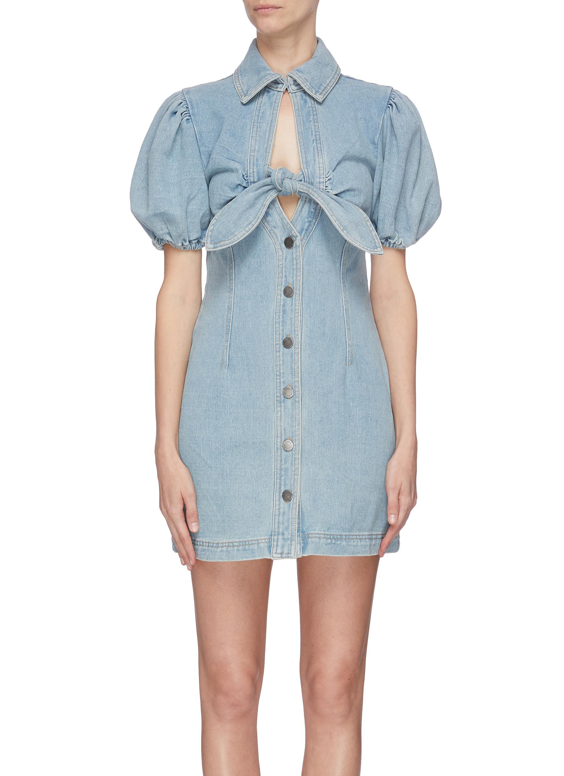 shop C/Meo Collective 'Comparison' tie front puff sleeve denim midi dress online