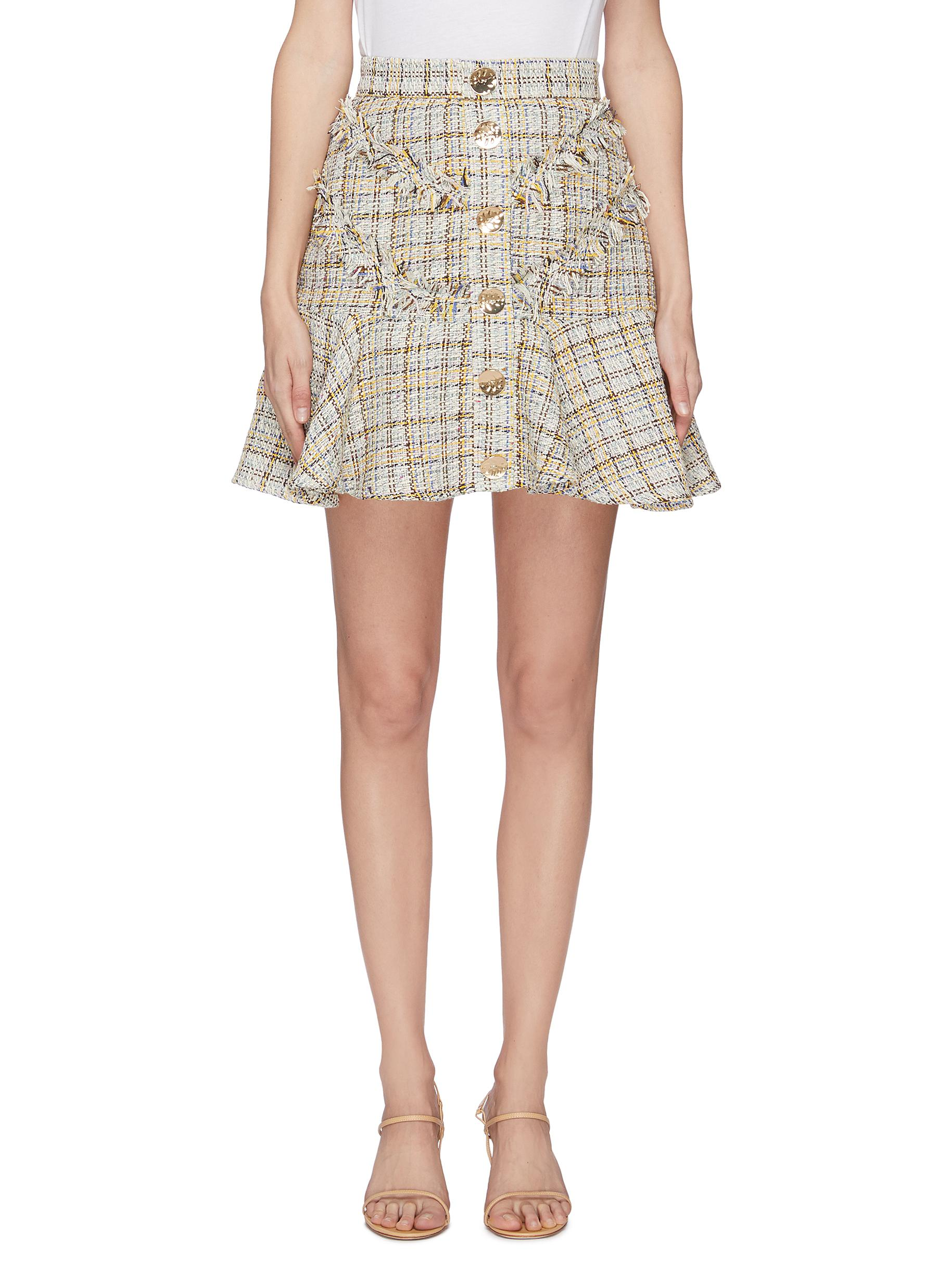 shop C/Meo Collective 'For Your Love' button tweed mini skirt online