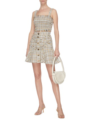 Figure View - Click To Enlarge - C/MEO COLLECTIVE - 'For Your Love' button tweed mini skirt