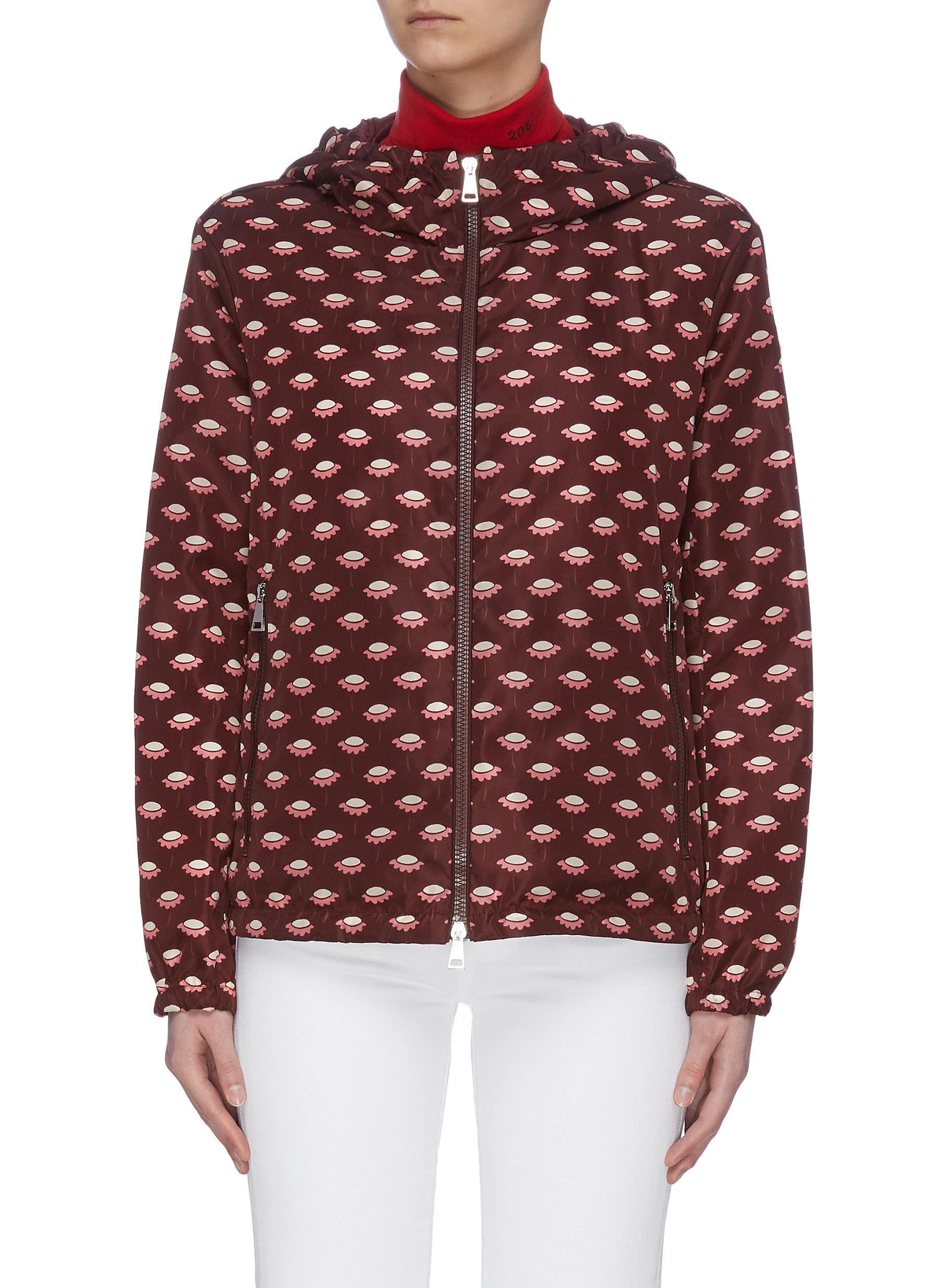 Buy Moncler Jackets 'Argent' floral print hooded windbreaker
