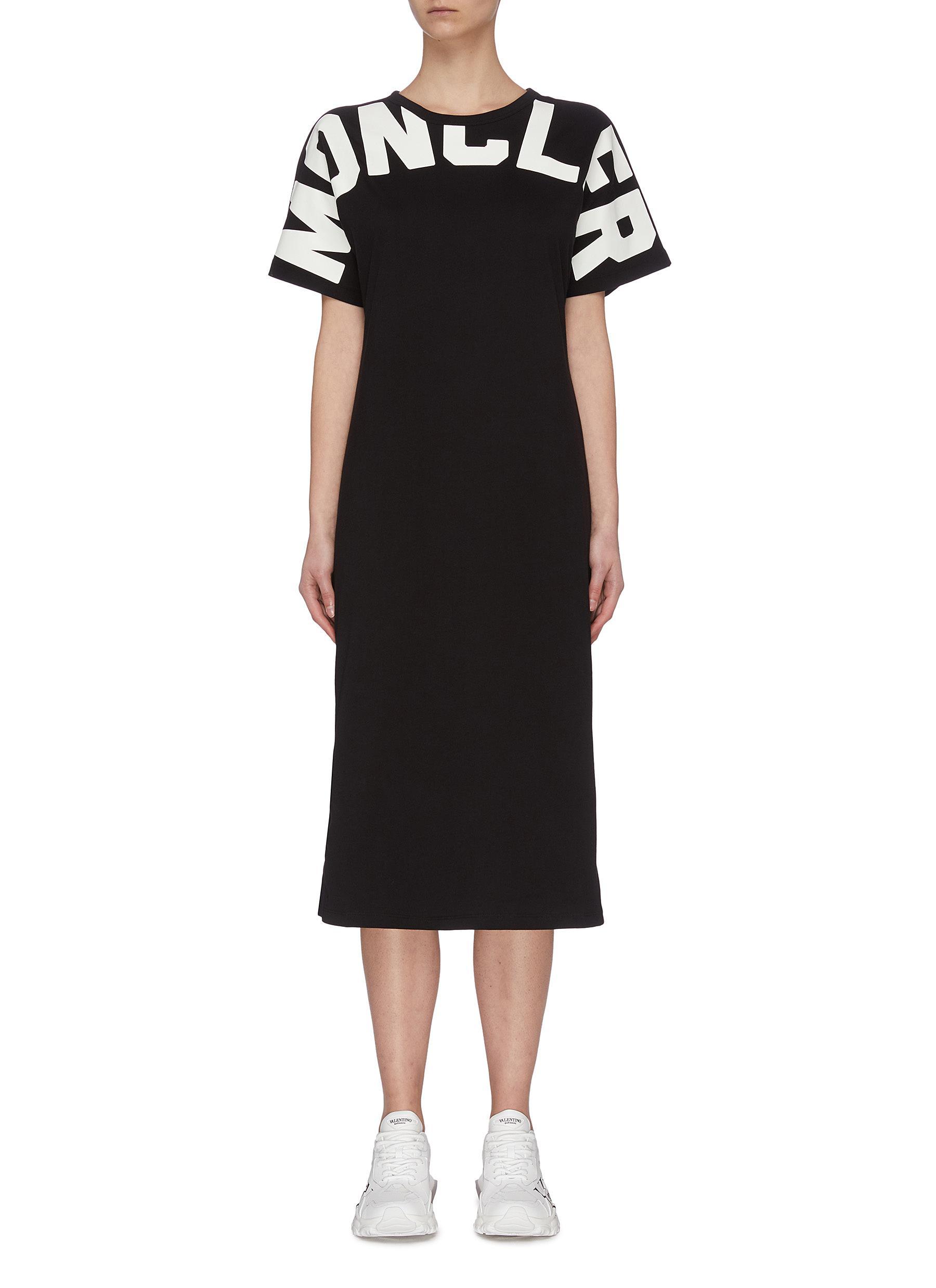 Buy Moncler Dresses Logo print midi T-shirt dress