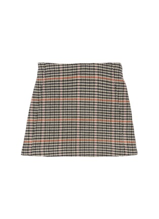 Figure View - Click To Enlarge - CHLOÉ - Houndstooth plaid button front skirt