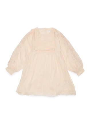 Main View - Click To Enlarge - CHLOÉ - 'Ceremony' lace sleeve panelled botanical motif dress