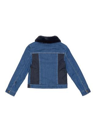 Figure View - Click To Enlarge - CHLOÉ - Faux fur collar contrast panel denim jacket
