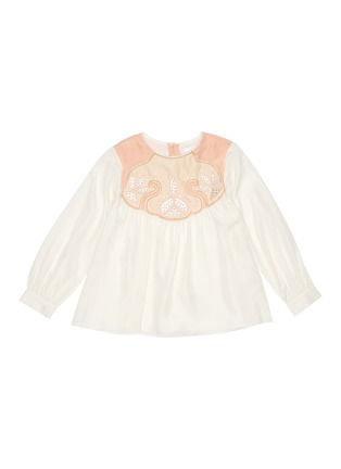 Main View - Click To Enlarge - CHLOÉ - Stud embroidered yoke silk blouse