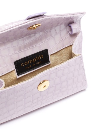 Detail View - Click To Enlarge - COMPLÉT - 'Valery' ring handle micro croc embossed leather envelope belt bag