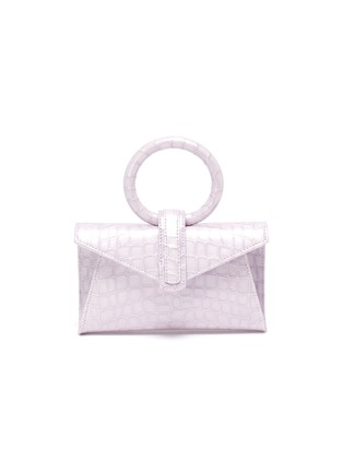 Main View - Click To Enlarge - COMPLÉT - 'Valery' ring handle micro croc embossed leather envelope belt bag