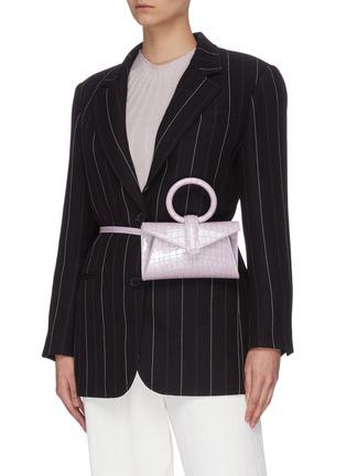 Figure View - Click To Enlarge - COMPLÉT - 'Valery' ring handle micro croc embossed leather envelope belt bag