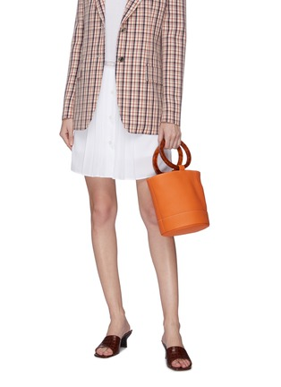 Figure View - Click To Enlarge - SIMON MILLER - 'Bonsai 20' acetate ring handle leather bucket bag