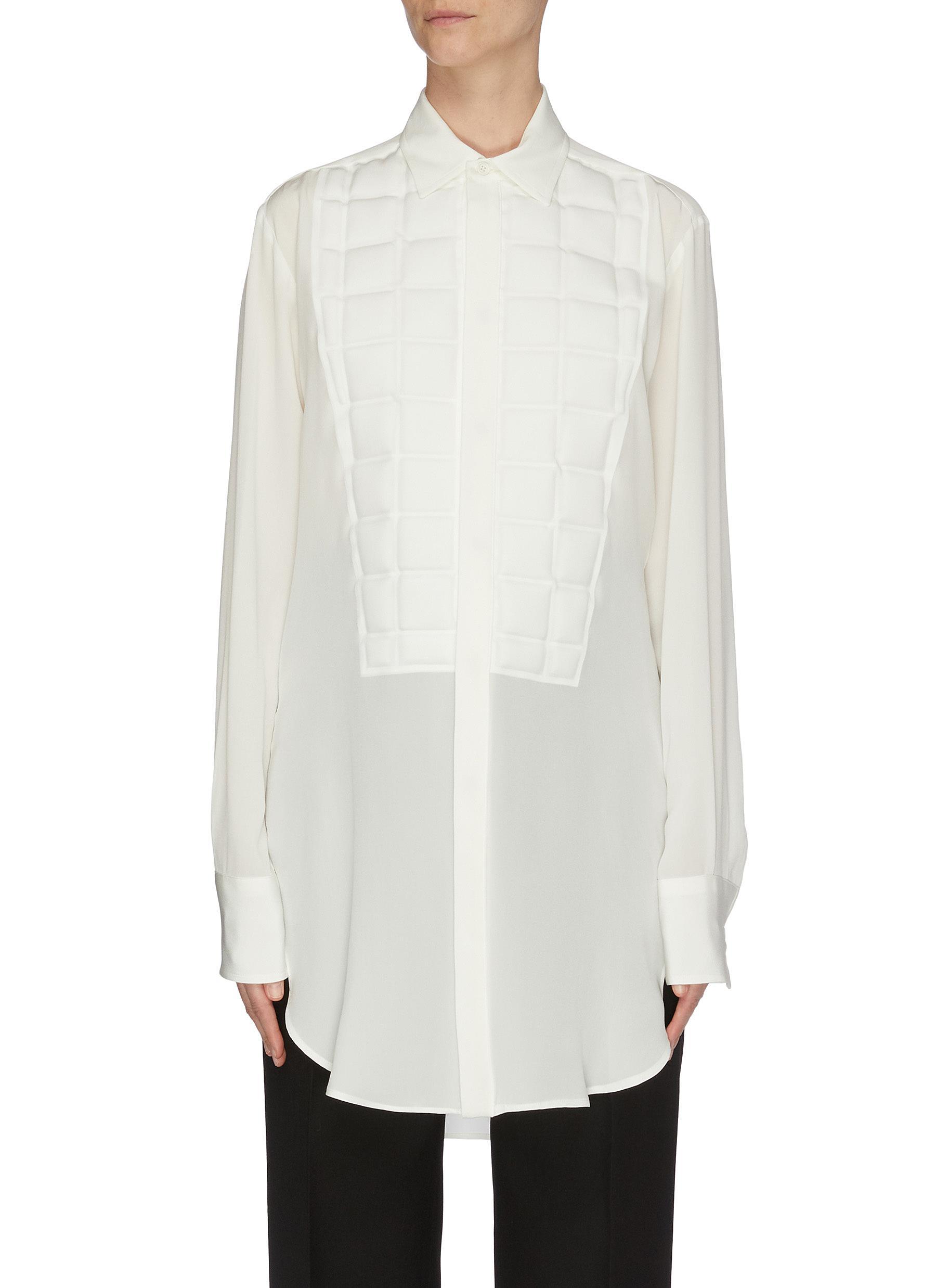 shop Bottega Veneta Mold bib crepe de chine shirt online
